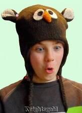 Owl Beanie Hat Novelty Winter Snow Ski 100% Wool Knit Polyfleece Lined