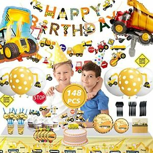 148 PCS Construction Birthday Party Supplies Include Banner,Construction