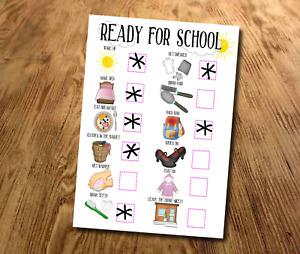 Kids, Morning Routine Chart, Ready for School, Girls Star Chart, sticker Chart