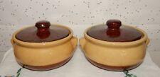 2 Vintage Hormel Soup Crock Pots & Covers/Lids~Signed Bottoms~Bowls w/Handles