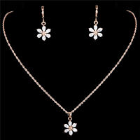 Wedding Jewelry Sets Gold Filled Cubic Zirconia Flower Necklace Earrings
