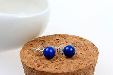 earrings Nails Small Pearl Lapis Lazuli 6mm Solid Silver 925 CY9