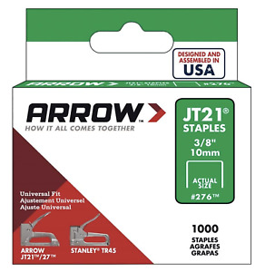 "Heavy Duty 10mm (3/8"") Staples - Arrow - JT21 T27 Staples Box of 1000"