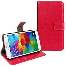 Pink Genuine Leather Card Money Wallet Phone Case Cover for Samsung Galaxy S5