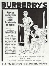 PUBLICITE  BURBERRYS BURBERRY SPORTS  D'HIVER  SKI  MODE FASHION  AD 1932