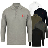 NEW MENS POLO SHIRT TOP LONG SLEEVE PIQUE DESIGNER PLAIN T-SHIRT TEE HORSE GOLF