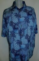 Batik Bay Mens Large Navy Blue Aloha Print Shirt