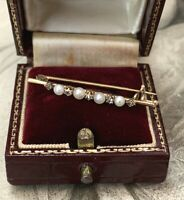 Antique Pearl & Diamond Brooch, 18ct Gold  Victorian Rose Diamond Pin