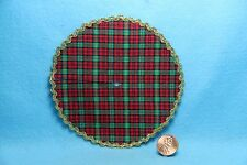 Dollhouse Miniature Christmas Plaid Pattern Fabric Tree Skirt ~ DH4591