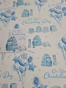 Gift Wrap 2x Thick Sheets On Your Christening Day Male  & 1 Gift Tag 50x70cm