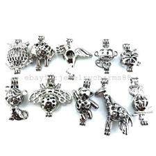 21694 10X/lot Silver Rabbit Elephant Monkey Bee Cat Bear Owl Pearl Cage Pendant