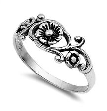 .925 Sterling Silver Ring size 6 Celtic Rose Leaf Midi Flower Ladies New pp04