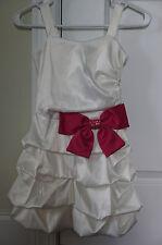 Girls Ruby Rox Ivory Pickup Bubble Dress with Dark Pink Bow Trim / Size 8