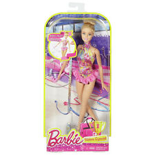 Barbie Ribbon Gymnast Doll (Blonde with Pink Outfit) by Mattel (DKJ17)