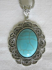 Silver & Turquoise Tone Oval Statement Pendant Necklace - Vintage Steampunk Boho