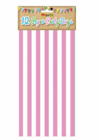 12 Pink Stripe Paper Bags - Party Treat Candy Sweet Loot Lunch Gift