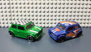 Hot Wheels 1/64 Loose _  x2 Mini Morris / Green & Blue HW team variants !