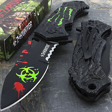 "7.75"" ZOMBIE HUNTER APOCALYPSE BIOHAZARD SPRING ASSISTED FOLDING POCKET KNIFE"