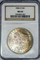 1884-O Morgan NGC MS64 Late-Stage Rainbow-Toned Silver Dollar!