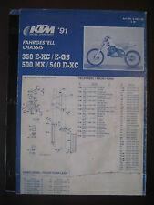 KTM 1991 Part Number Diagram Poster CHASSIS 350 E-XC E-GS 500 MX 540 D-XC No.