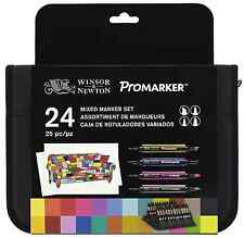 Winsor & Newton Set of 24 Assorted Markers Neon Metallic Promarker & BrushMarker