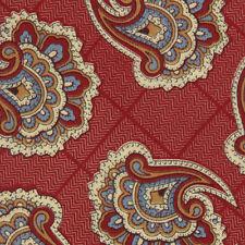 Liberty of London Designer Paisley on Deep Red Check Silk Neck Tie