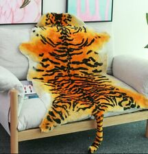Soft Genuine Sheepskin Rug Animal Tiger Skin Pelt Real Fur Bedroom Sofa Carpet
