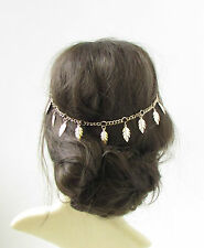 Gold Leaf Hair Vine Headdress Headpiece Grecian Bridal Drape Festival Boho 360