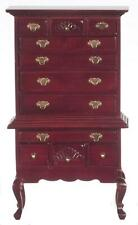Dolls House Mahogany Queen Ann Tallboy High Chest of Drawers Bedroom Furniture