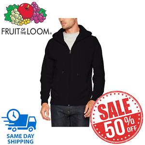 Fruit of the Loom Mens Zip Through Hooded Sweatshirt/Hoodie Size XXL 2XL Black