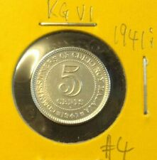 MALAYA  KING GEORGE VI  5 cents coin 1941i  KEY DATE  Silver .750 High Grade #4