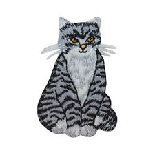 ID 3005 Stripped Cat Patch Kitten Kitty Happy Pet Embroidered Iron On Applique