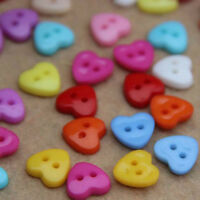 100x Heart Shaped Button Plastic Buttons Sewing or Scrapbooking DIY TOP