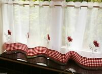 """POPPIES GINGHAM RED GINGHAM KITCHEN EMBROIDERED 59"""" X 18"""" CAFE PANEL"""