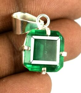 925 Sterling Silver Pendant 16.75 Ct Muzo Emerald Cut Natural Certified