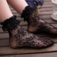 Women Girl Sweet Lolita Princess Lace Socks Elastic Ruffle Short Ankle Socks