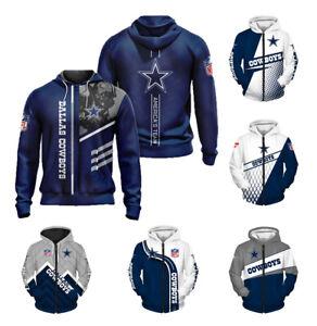 Dallas Cowboys Hoodies Football Hooded Sweatshirt Casual Zipper Jacket Fans Gift