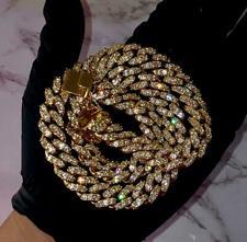 "Vvs1 Diamonds 14k Yellow Gold Over 20"" Cuban Link Mens Chain Round Cut Necklace"