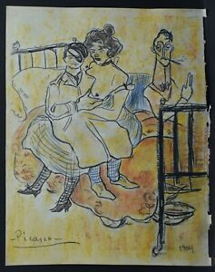 PABLO PICASSO - DRAWING & PAINTING, MIXED MEDIA ON OLD PAPER, SIGNED, VTG, ART