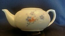 Signed chinese porcelain tea pot Flowers blue white