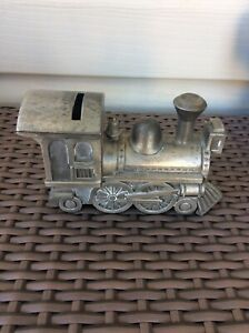Vintage Novelty Money Box Pewter Train 14cm Wide