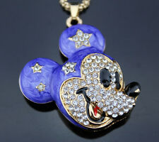 A87 Betsey Johnson Crystal Enamel Cartoon Mouse pendant Sweater chain Necklace