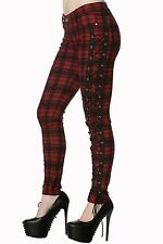 Red Tartan Check Goth Corset Rockabilly Elastic Skinny Trouser By Banned Apparel