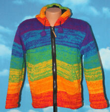 Kyber Outerwear Merged Rainbow SWT100 Coat Hooded Zip Sweater Fleece Lined Small