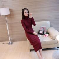 Womens cashmere Long Sleeve Turtleneck long Knit Sweater Dress Pullover Knitwear