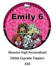 Monster High x30 Personalised Cupcake Toppers Edible Wafer Paper Name And Age
