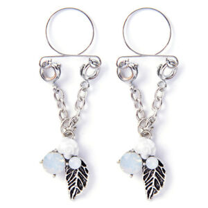 Women Opal Leaf Nipple Ring Clip Dangle Adjustable Sexy Non Piercing Jewelry QC