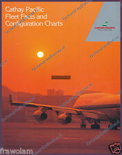 LARGE CATHAY PACIFIC BROCHURE - FLEET FACTS, SEAT MAPS BOEING 747, TRISTAR 1990