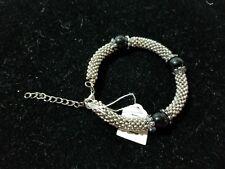 """Bracelet w/ 2"""" Extender V1 Hand Beaded Black & Silver Glass"""