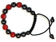 Shambala Armband, leuchtend Rot, mit natürl.Magneten, Schamballa, 10mm Echt-Ton
